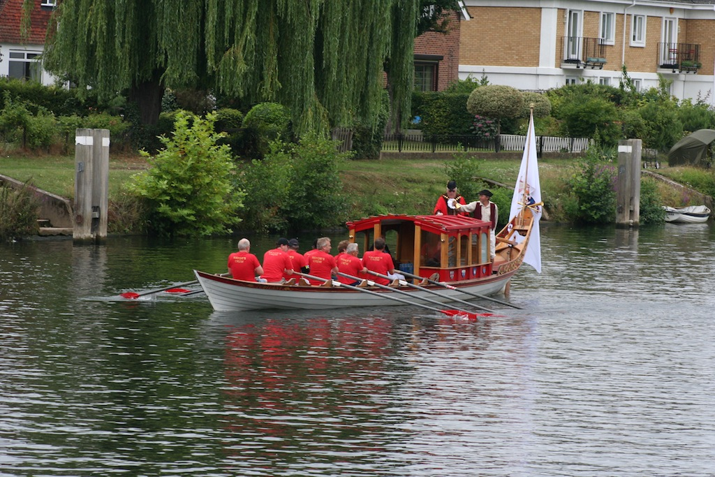 The mayor is rowed from Staines to Sunbury in a shallop