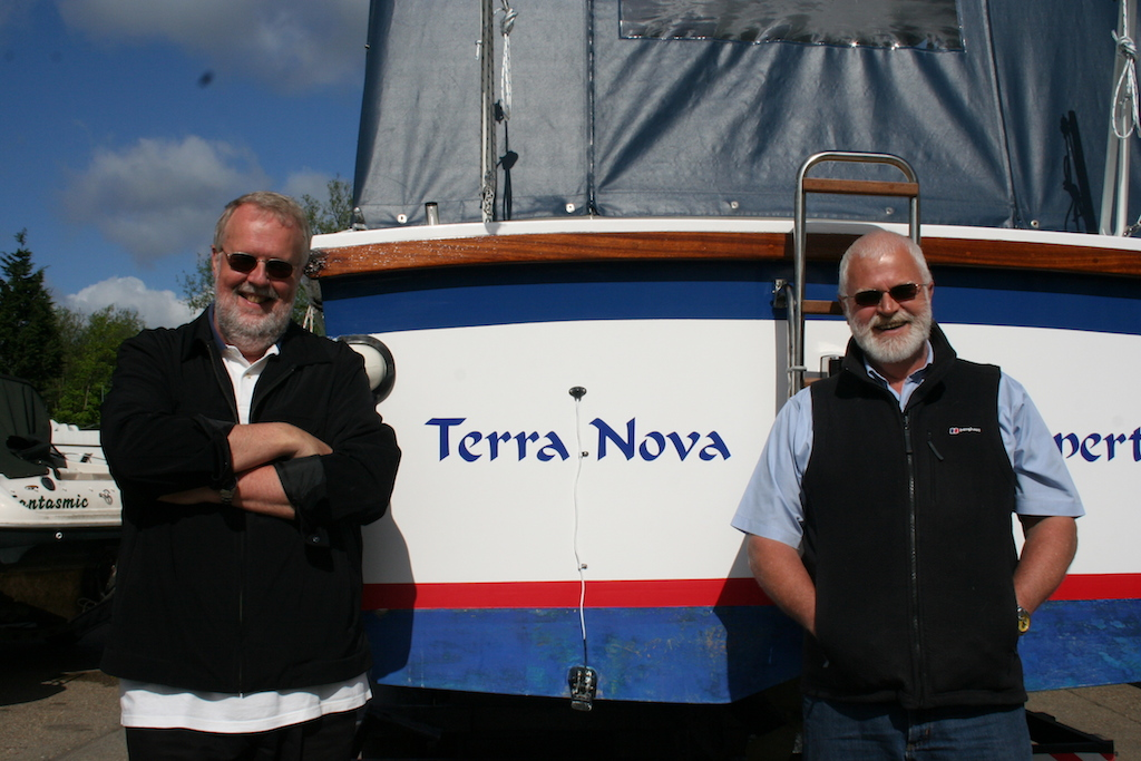 Mort Smith and his brother, Alan, stand beside Terra Nova - are they all too old for another adventure?