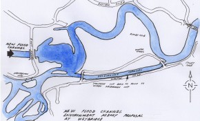 Doug Myers produced this map showing where the flood alleviation channel will empty into the Thames just downstream of Shepperton Lock.